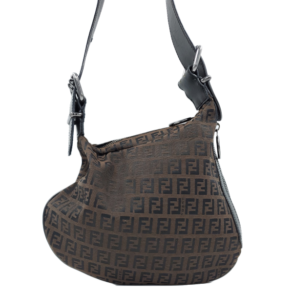 Fendi Vintage Leather Zucca Canvas Saddle Bag - close up front view