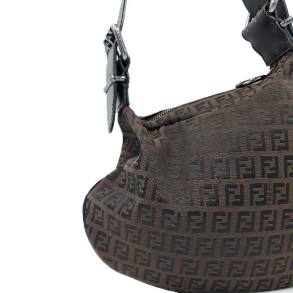 Fendi Vintage Leather Zucca Canvas Saddle Bag - close up left side