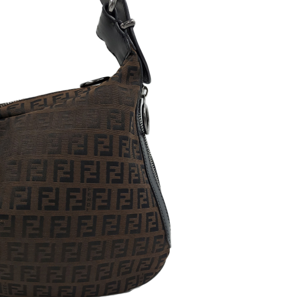 Fendi Vintage Leather Zucca Canvas Saddle Bag - close up right side