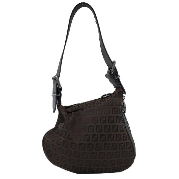 Fendi Vintage Leather Zucca Canvas Saddle Bag - main