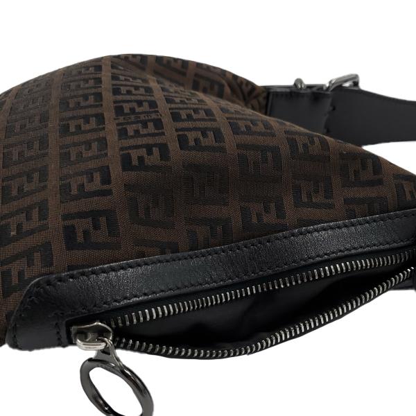 Fendi Vintage Leather Zucca Canvas Saddle Bag - monogram view