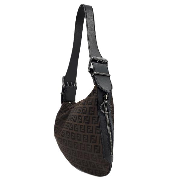 Fendi Vintage Leather Zucca Canvas Saddle Bag - ride side