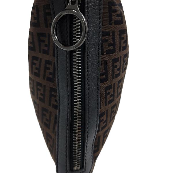 Fendi Vintage Leather Zucca Canvas Saddle Bag - side pocket
