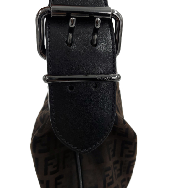 Fendi Vintage Leather Zucca Canvas Saddle Bag - strap view